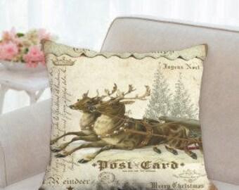 Post Card Reindeer Christmas Pillow