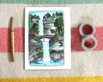 Greeting Card - Multnomah Falls Greeting Card - Oregon Card - Blank Greeting Card - Illustrated Card - Waterfall Card - Mulnomah Falls