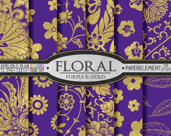 Royal Purple Digital Paper: Purple and Gold Digital Paper, Gold Scrapbook Paper for Gold and Purple Wedding, Purple Birthday Paper