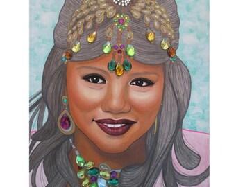 Bejeweled Beauties - Bindiya Bhudia - Mixed Media Art - ART PRINT - 8 x 10 - By Toronto Portrait Artist Malinda Prudhomme
