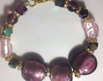 murano style glass beaded bracelet