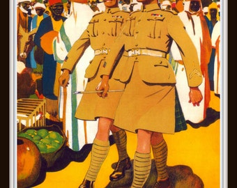 "Vintage British Propaganda Poster ""See the World and Get Paid for Doing It"" Soldiers in Algiers circa 1925 - Giclee Fine Art Print"