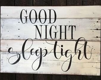Hand-painted wood sign, Good night, sleep tight