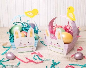 Printable Easter Bunny basket instant download rabbit foldable pink girl and blue boy baskets gingham plaid pattern baby easter chick DIY