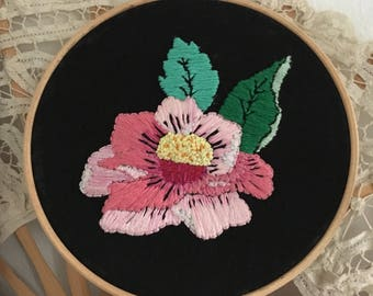 "Number 12, Peony handmade embroidery, 6"" / 15 cm hoop. Floral & pastel hand embroidery, fiber art, wall art - Gift for flowers lover"