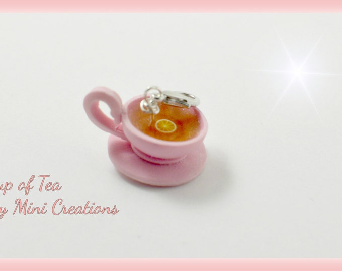 Cup of Tea Charm, Polymer clay, Miniature food, Miniature Food Jewelry