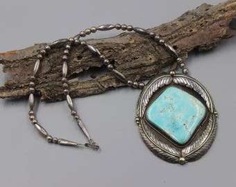 BB Navajo Necklace Native American Indian Large Pendant Turquoise Signed Vintage Squash Blossom
