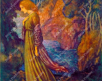 Hand-cut wooden jigsaw puzzle. Anna Bell Lee. Edmund Dulac Fairytale gift. Fairy tale. Wood, collectible. Bella Puzzles.