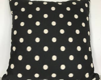 Black and White Ikat Dot Pillow Cover, 16x16 Square Pillow Cover