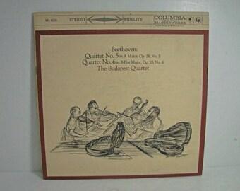 The Budapest Quartet Record, Beethoven No. 5 6, Columbia MS 6067 6 Eye Vintage Vinyl LP Classical