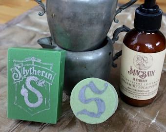 Slytherin Soap, Lotion, and Bath Bomb Set