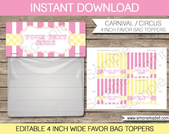 Carnival Favor Bag Toppers - 4 inches wide - Carnival or Circus Party - INSTANT DOWNLOAD with EDITABLE text - you personalize at home