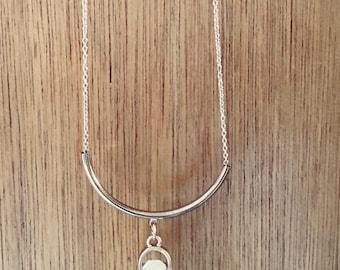 Gold Rose Quartz long necklace (white)