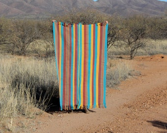 Desert Dream: Vintage Aso Oke Tribal Textile (Large), Yoruba Tribe, Nigeria, Burnt Red, Yellow, Blue Fabric, Wall Hanging, Picnic Blanket