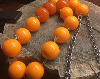 Necklaces Handmade hand wired huge tangerine and apricot lucite beads with stainless steel coated copper wire