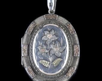 Antique Victorian Locket Silver Gold Forget Me Not Circa 1900