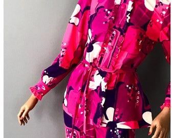 Groovy Austin Powers floral 60's pant suit,pant set, top, pants-XS-Small