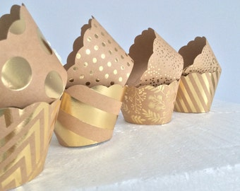 Gold Cupcake Wrappers, Gold Foil, Kraft Cupcake Wrappers, Wedding Cupcake Wrappers