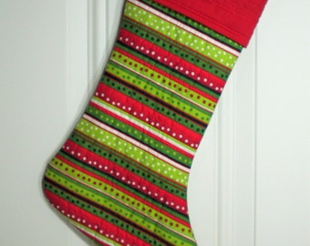 Quilted Christmas Stocking in Holiday Stripes