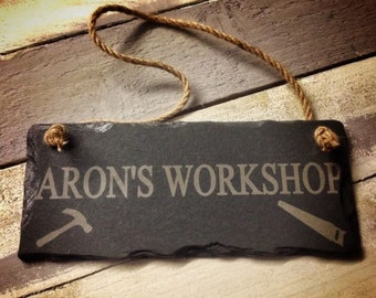 Personalised Slate Workshop/Shed Sign 25x12cm