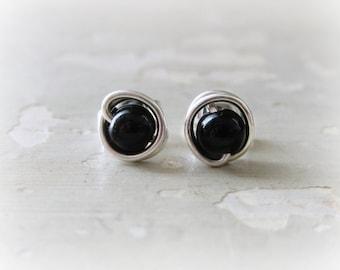 Onyx Stud Earrings, Sterling Stud Earrings, Black Earrings, Black Stud Earrings, Small Stud Earrings, Gemstone Earrings, Black Onyx Studs