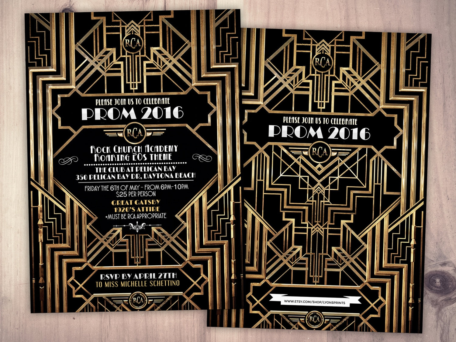 Great Gatsby prom invitation Roaring 20s Hollywood film theme