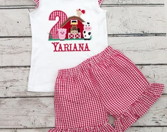 Farm birthday outfit - farm outfit - farm birthday - farm party - second birthday outfit - barn outfit - birthday shirt - cowgirl