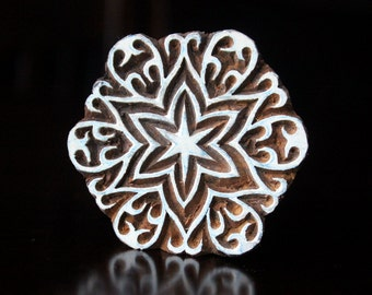Pottery Stamps, Indian Wood Stamp, Textile Stamp, Wood Blocks, Tjaps, Printing Stamp- Round Floral