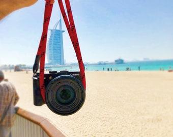 Camera Strap Red-Shoulderstrap-rope Camerarope-Camerastrap for all cameras-camera-belt-handmade by Seilstyles
