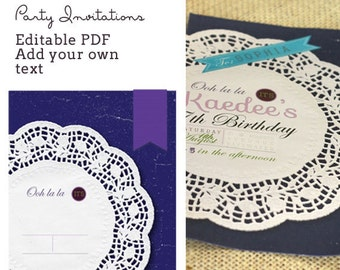 Shabby Chic Party invitations - editable PDF - add your own text