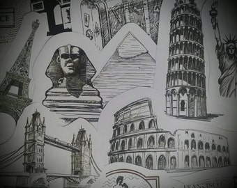 Stickers Sketching Italy Rome Egypt Pyramaid Paris Colosseum London Bridge Sketching Stickers Set