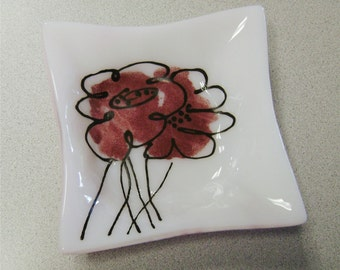 SALE-Abstract Flowers Fused Glass Dish 2