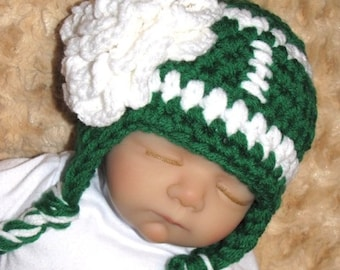 Baby Girl TEAM FOOTBALL Hat with Flower PHOTO Prop - Team Colors - Newborn - Made to Order