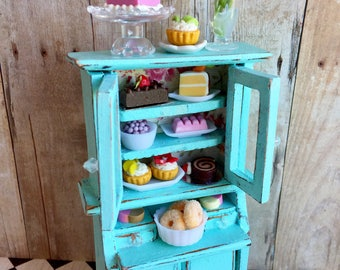 Dollhouse pastry cupboard, shabby chic miniature, bakery miniature