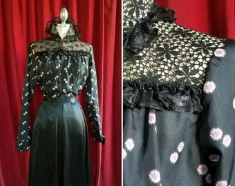 Edwardian Black and Magenta Silk & Cotton Floral Print 1900s Blouse with Ruffles and Lace