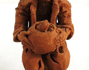 Clay Figure Hobo with Bowl Malawi African 81958