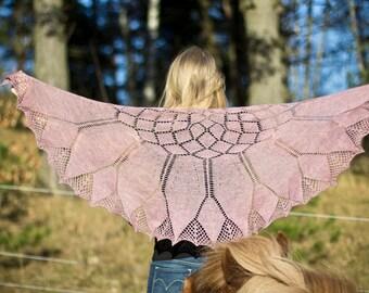 Gerbera - pattern lace shawl knitting wool flower feminine merino yarn