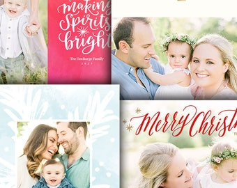 Christmas Photo Card Template Bundle - Photoshop Template for Photographers - Four (4) Cards - 1672