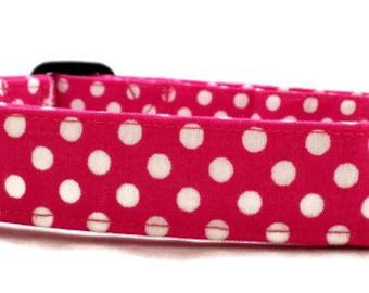 Hello Hot Pink and White Polka Dot Dog Collar