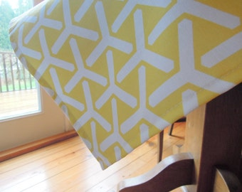 Yellow Tablecloth, Organic Cotton Tablecloth, Yellow and White, Square, 43x43, Cloud 9