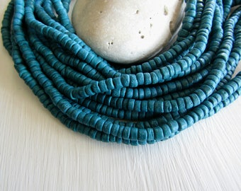 Small blue rondelle  coconut beads , teal heishi discs spacer , exotic boho coco  1.5 to 3mm  x 5mm / 14 inch strd, 6CB18-1