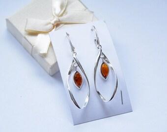 Baltic Amber Cognac Earrings, Natural Amber Earrings, Silver Earrings 925, Gift earrings