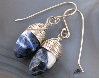Blue Sodalite Earrings - briolette, natural stone, sterling silver, wire wrapped, small, lightweight