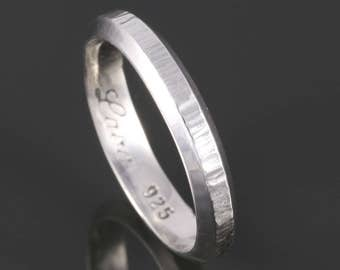 Thicker Stacking Ring. Beveled & Hammered. Beveled Edges. Hammered Texture. Sterling Silver. Thin Band. Exclusive Design. Stackable Ring.
