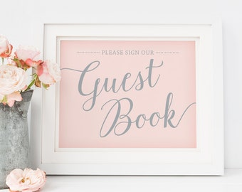 Printable Guestbook Sign Wedding // Pink and Silver Wedding Signs Download // Please Sign Our Guest Book Sign, Pink Wedding Decor