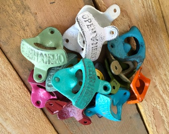 """Bottle Opener - Cast Iron - Wall Decor - Man cave - You Pick Color """"open here"""""""