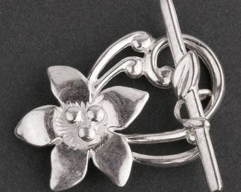 JBB Sterling Silver 30mm Ornate Flower Toggle Clasp. b8-351(e)