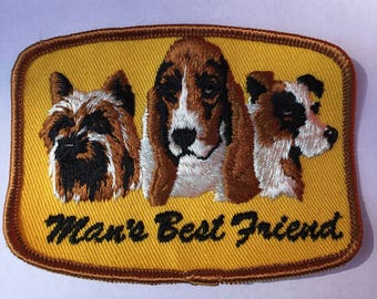 Man's Best FRIEND Dog PATCH Detailed Stitching L@@K Vintage Item Rare Unique Terrier Beagle Hound