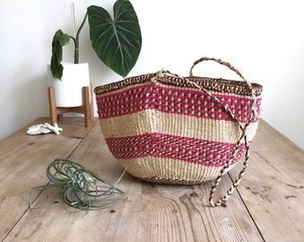 African Straw Market Bag | Sisal Shoulder Bag | Colorful Tote Bag | Straw Bag | Market Tote | Straw Purse | Kenya Straw Tote Bag |