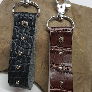 Faux Black or Brown Croc Studded Vinyl Keychain, Key Fob